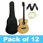 Tiger Acoustic Guitar for Beginners - Natural - Pack of 12