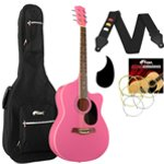 Tiger Pink Acoustic Guitar Pack for Students with Padded Bag