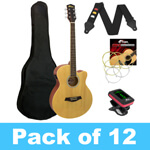 Tiger Electro Acoustic Guitar - Natural- Pack of 12 With 2 Tuners