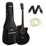 Tiger Black Electro Acoustic Guitar Package with Padded Bag