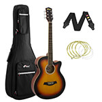 Tiger Sunburst Electro Acoustic Guitar Package with Padded Bag