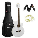 Tiger White Electro Acoustic Guitar Package with Padded Bag