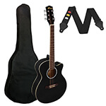Small Body Acoustic Guitar for Beginners Guitar - Black