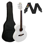 Small Body Acoustic Guitar for Beginners Guitar - White