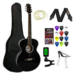 Tiger Beginners Acoustic Guitar Package - Black