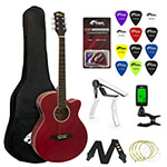 Tiger Beginners Electro Acoustic Guitar Package - Red