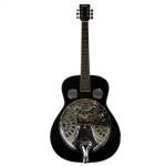 B GRADE - Vintage VRA400BK Black Wood Body Resonator Guitar - Minor Damage