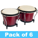 World Rhythm Bongo Drums for Beginners - Red Finish - Pack of 6