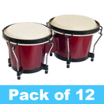 World Rhythm Bongo Drums for Beginners - Red Finish - Pack of 12