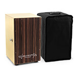 World Rhythm Black Cajon Box Drum with Adjustable Snare & Padded Bag