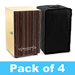 World Rhythm Black Cajon Box Drum - Pack of 4