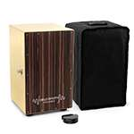 World Rhythm Black Sandalwood Cajon Drum with Adjustable Snare & Foot Tambourine