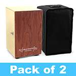 World Rhythm Brown Cajon Box Drum - Pack of 2