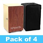 World Rhythm Brown Cajon Box Drum - Pack of 4