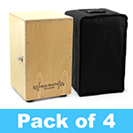 World Rhythm Natural Cajon Box Drum - Pack of 4