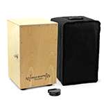 World Rhythm Natural Cajon Drum with Adjustable Snare & Foot Tambourine