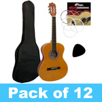 Tiger 3/4 Size Classical Guitar Complete Starter Kit - Pack of 12