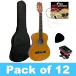 Tiger 3/4 Size Classical Guitar - Pack of 12 With 2 Tuners