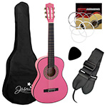 Jasmin 4/4 Size Pink Classical Spanish Guitar Beginners Complete Kit