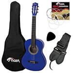 Tiger Left Handed 1/2 Size Blue Kids Classical Guitar Package