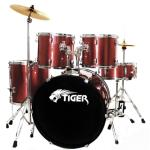 B GRADE - Tiger Red Full Size Drum Kit with Stool and Sticks - Ex Demo Model