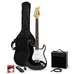 Tiger Beginners Full Size Electric Guitar Starter Pack with Amp, Strap, Spare Strings, Lead, Picks, Gig Bag - Black