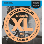 D\\'\\'addario Nickel Wound, Medium/Blues-Jazz Rock, Wound 3rd, 11-49 Guitar Strings