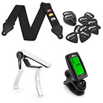 Guitar Gift Pack - Guitar Picks, Strap, Tuner and Capo