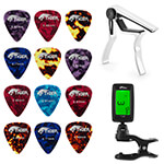 Tiger Guitar Capo, Tuner and Guitar Plectrums Bundle