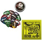 Ernie Ball Regular Slinky Electric Guitar Strings & Tiger Picks Bundle