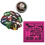 Ernie Ball Super Slinky Electric Guitar Strings & Tiger Picks Bundle