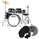Tiger Junior 5 Piece Black Drum Kit with Silencer Pads