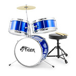 Tiger 3 Piece Junior Drum Kit - Drum Set for Kids in Blue