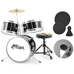 Tiger 3 Piece Black Junior Drum Kit with Silencer Pads - Ideal Childrens Drum Set