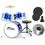 Tiger 3 Piece Blue Junior Drum Kit with Silencer Pads - Ideal Childrens Drum Set