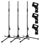 Tiger 3 Pack of Straight Microphone Stands