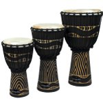 World Rhythm Jammer Swirl Black Djembe Drums