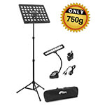 Tiger Lightweight Music Stand & LED Music Light Pack with Bag