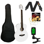 Tiger Acoustic Guitar in White - School Pack