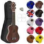 Childrens Ukulele for Beginners Dark Wood Natural - Uke Bag