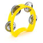Tiger Mini Kids Half Moon Tambourine, Childrens Tambourine with Jingles - Yellow