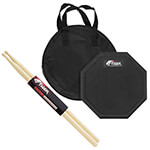 Tiger Drum Practice Pad with Tiger Hickory 5B Drum Sticks