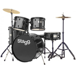 Stagg Black Drum Kit with Black Hardware