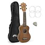 Tiger Beginners Left Handed Soprano Ukulele in Natural with Bag