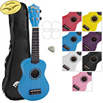 Tiger Soprano Ukulele for Beginners in Blue with Bag