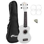 Tiger Beginners Left Handed Soprano Ukulele in White with Bag