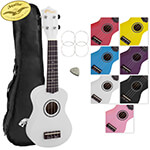 Tiger Soprano Ukulele for Beginners in White with Bag