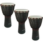 World Rhythm 3 Pack of 40cm Wooden Djembe Drums - 7\