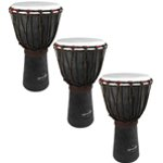 World Rhythm 3 Pack of 50cm Wooden Djembe Drums - 9\