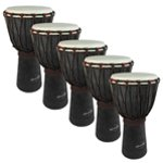 World Rhythm 5 Pack of 40cm Wooden Djembe Drums - 7\